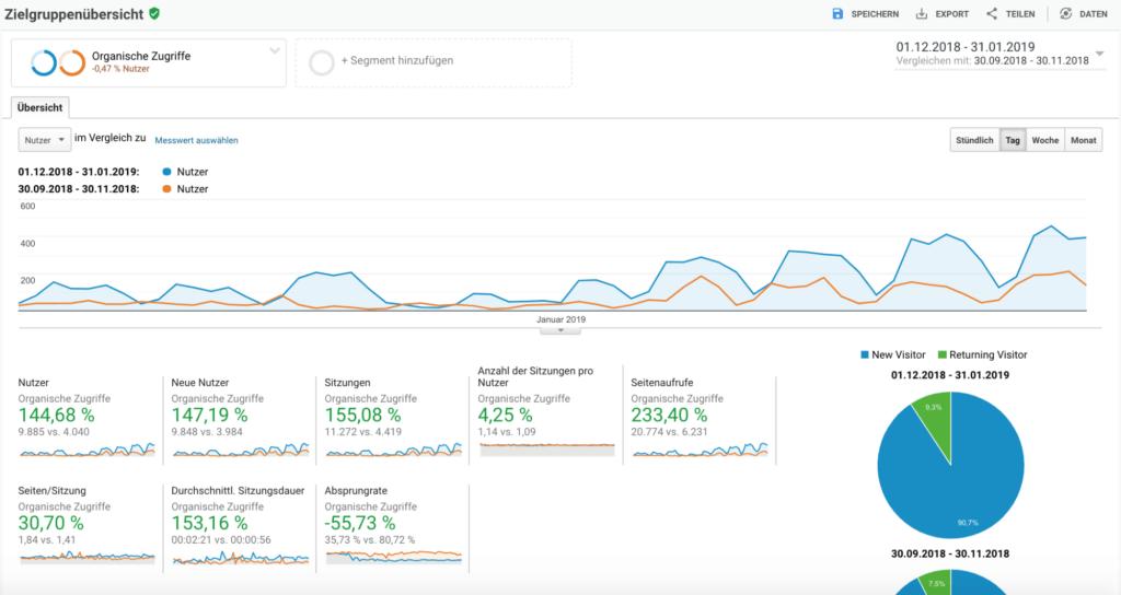 Verbesserungen im Zeugnisprofi Traffic laut Analytics